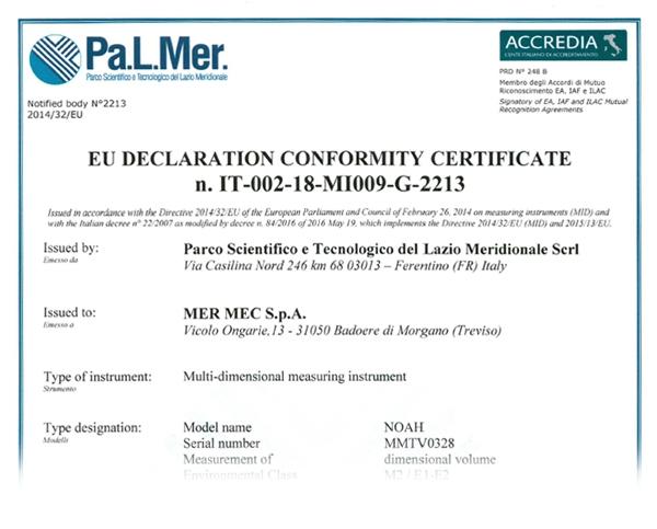 Dichiarazione coformità MI-009 MID